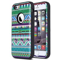 """ULAK iPhone 6 Case Shock Resistant Case with 3in1 Hybrid Cover Soft silicone + Hard PC for Apple iPhone 6s (4.7"""" inch)-2015 iPhone 6 (4.7"""" inch) 2014 Release Pink Tribal-Blue"""