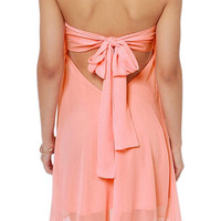 ROMWE Self-tied Bowknot Backless Pleated Pink Dress