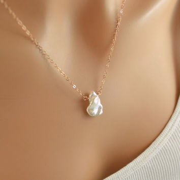 White Keishi Pearl Necklace, Rose Gold Filled, Summer, Beach Wedding, Pink Gold Jewelry, Simple Wire Wrapped, Free Shipping