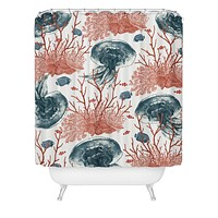 Belle13 Coral And Jellyfish Shower Curtain