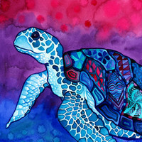 Sea Turtle Print (Trippy Colorful Hawaiian Sea Turtle in Psychedelic Magenta, Pink, Violet and Blue Watercolor Kapa Cloth Patterns)