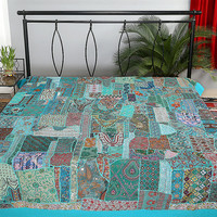Blue Indian Patchwork Bedspread Queen Bed Spread Bedding Duvet Cover Tapestry Bedsheet, Wall Tapestry, Indian Tapestry Wall Hanging, Runner