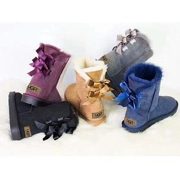 U UGG fashion casual women's boots sell solid color bow and velvet snow boots