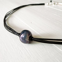 Leather choker blue and white ceramic bead black cords necklace single bead