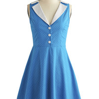 ModCloth Vintage Inspired Mid-length Sleeveless A-line Playwright Date Dress in Blue