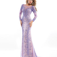 Rachel Allen Prima Donna 5708 Long Sleeve Beaded Pageant Prom Dress $1100