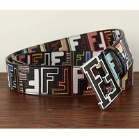 Hot Sale Fendi  Women Men F Mark Belt Print Belt B104518-1 Black+Colorful print