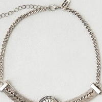 AEO Women's Turquoise Medallion Choker Necklace (Silver)