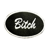 BITCH Oval White on Black Small Patch Iron on for Vest Jacket SB644