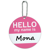 Mona Hello My Name Is Round ID Card Luggage Tag