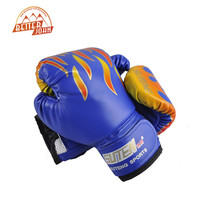 SUTEN Children Flame Mesh Palm Boxing Gloves Professional Sanda Boxing Training Glove Breathable PU Leather MMA Flame Gloves