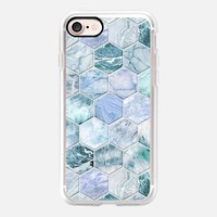 Ice Blue and Jade Stone and Marble Hexagon Tiles large iPhone 7 Case by Micklyn Le Feuvre | Casetify
