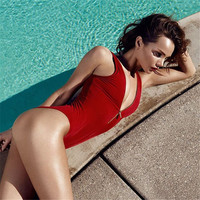 Sexy Women Deep V Neck One Piece Swimsuit Red Brazilian Monokini Zipper Swimwear Biquinis Bodysuit High Waist Bathing Suit