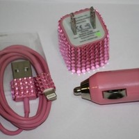 bling and shining 3 in 1 8pin/Travel/Car Charger Kit (colorful) for iphone5/5S/5C(Pink)