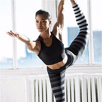 """Multi Colorize"" Striped Yoga Leggings"