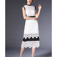 Backless Sexy Crochet Hollow Water Soluble Long Skirt Slim Dress60185  white   S