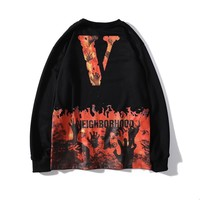 2019 autumn new Vlone joint flame skull print trend men and women round neck pullover sweater thin section