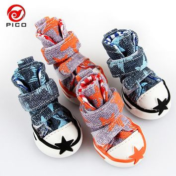 Pet dog shoes cute stars puppy boot outdoor Casual canvas Sneakers Teddy small dogs