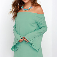 Canyon Echo Sage Green Long Sleeve Off-the-Shoulder Dress