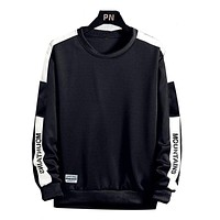 New Trend Men Hoodies Casual Solid Splice Pullover O-Neck Slim Fit Men'S Sportswear Sweatshirt Print Male Hoody Tracksuit