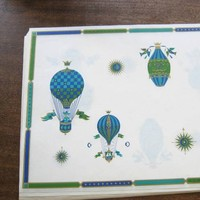 Set of 22 Vintage Contempo Green/Blue Hot Air Balloon Graphic Placemats by Georges Briard; Upscale Beach/Coastal/Summer Paper Placemats