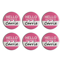 Carrie Hello My Name Is Plastic Resin Button Set of 6