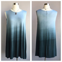 A Teal Green Stone Ombre Potato Sack Dress