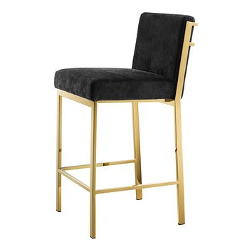 Gold Black Velvet Counter Stool | Eichholtz Scott