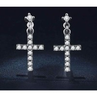 Cross CZ Crystal White Gold Plated Stud Earrings