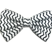 Black and white wave fabric hair bow great for little girls teens and woman - sock bun hair bow - large fabric hair bow