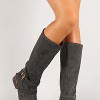 Layered Straps Pull On Knee High Riding Boot