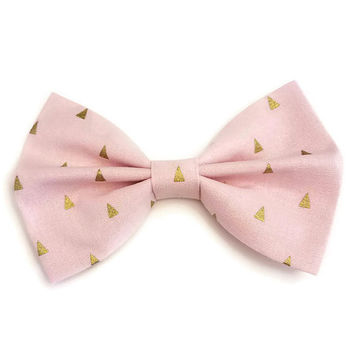 Pink & Gold Triangles  Bow • Geometric Bow  • Metallic Gold Bow • Pink Bow • Pink Gold Bow • Gifts For Women • Pink Hair Bow • Gifts Under 5