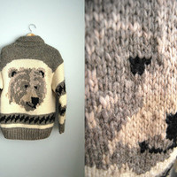 Big Ben - Vintage 70s Bear Print Paw Cowichan Knit Big Labowski Sweater Jacket Coat