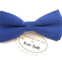 Bright blue linen bow tie, blue bow tie, bow ties for men, wedding bow tie, linen wedding tie, denim tie