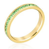 Gail Peridot Green Eternity Stackable Ring   1ct   18k Gold