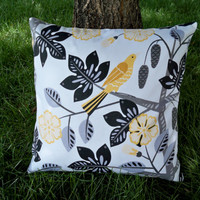 SALE Pillow, Decorative Pillow Cover - Yellow Birds - Designer Fabric Both Sides