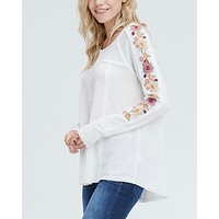 Where Your Love Lies Waffle Knit Embroidered Long Sleeve Henley Thermal Top in Ivory