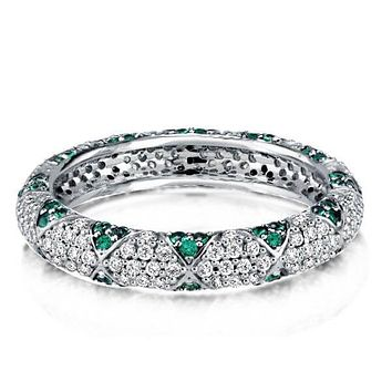 The Brighton, A Stunning 1.8TCW Green & White Sapphire Full Eternity Wedding Band Ring