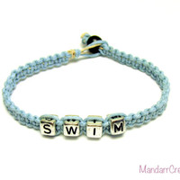 Swim Bracelet, Light Blue Macrame Hemp Jewelry for Swimmers