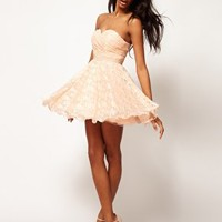 Opulence England Lace Bandeau Prom Dress With Pearl Waistband at asos.com