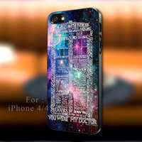 Word art tardis doctor who in galaxy iPhone case, Word art tardis Samsung Galaxy s3/s4 case, iPhone 4/4s case, iPhone 5 case