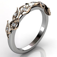 14k two tone white and rose gold diamond unusual unique floral wedding band LB-2027-5.