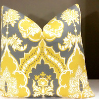 Yellow Pillow Cover, Grey and yellow floral medallion damask print pillow cover - All sizes available -