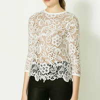 White Lace Top/Black Lace Top/Long Sleeve Lace Shirt