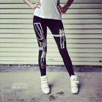 pants New Machine Gun Print Black Soft Cotton Leggings Tights Pants (Size 92 cm; Color Black) (Size: One Size) [9305972039]