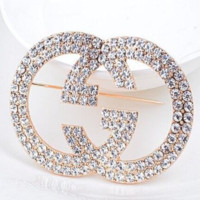 GUCCI New fashion letter more diamond personality women brooch accessories Golden