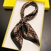 FENDI Fashion Women Comfortable F Letter Silk Scarf Kerchief Cape Scarf Silk Scarves Black Edge