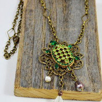 Turtle necklace, turtle pendant, antique gold necklace, Upcycled vintage jewelry, tassel pendant necklace, pearl necklace, turtle jewelry
