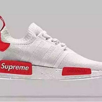 "Women Men ""Adidas"" NMD Boost Fashion Trending White and Red Leisure Running Sports Shoes"