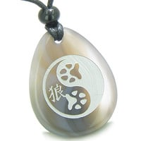 Amulet Wolf Paw Yin Yang Magic Kanji Good Luck Balance Powers Agate Pendant Necklace